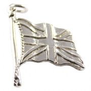 Union Jack Flag 3D Sterling Silver Charm